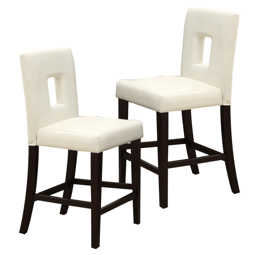 """Cream Leather Dining Room Chairs: Set Of 2 Dining 24""""H High Side Chairs Cream Faux Leather"""