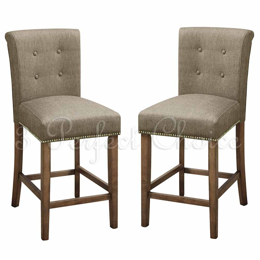 2 pc dining high counter height side chair bar stool 24 h blended linen slate ebay - Average height of bar stools ...