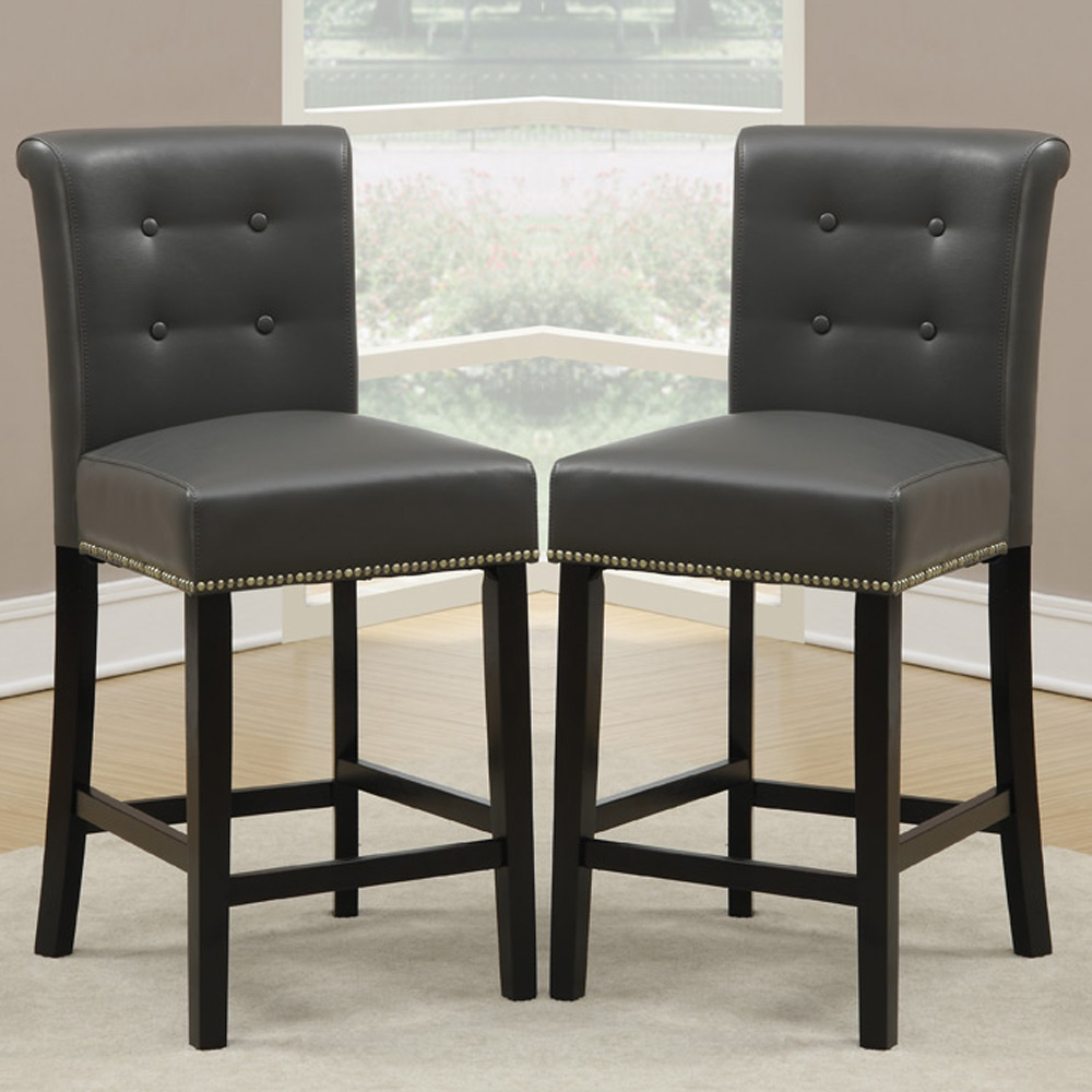 Set of 2 Dining High Counter Height Chair Bar Stool H Grey PU Nailhead Trim