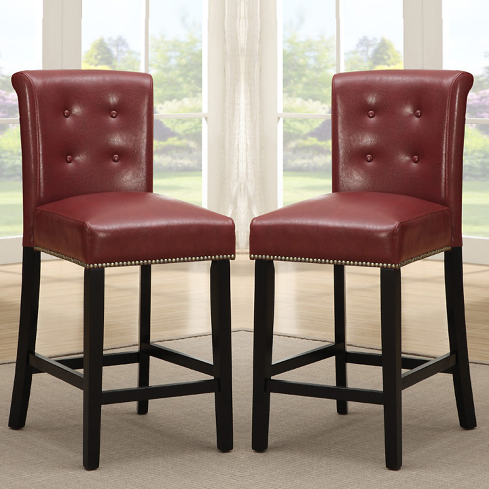 "Dining Room High Chairs: 2 PC Dining High Counter Height Chair Bar Stool 24""H"