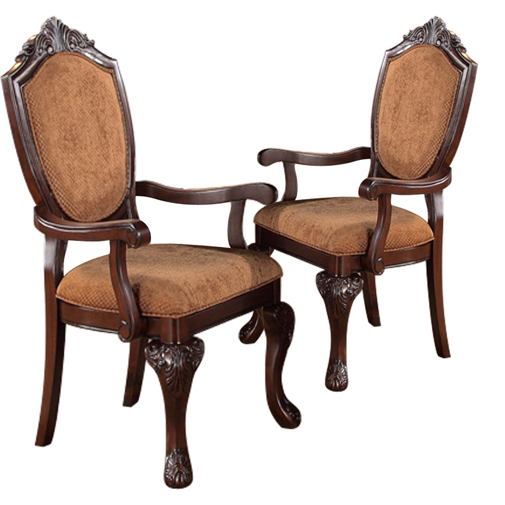 Dining Room Arm Chairs Upholstered: Set Of 2 Formal Elegant Dining Arm Chair Decor Wood Legs