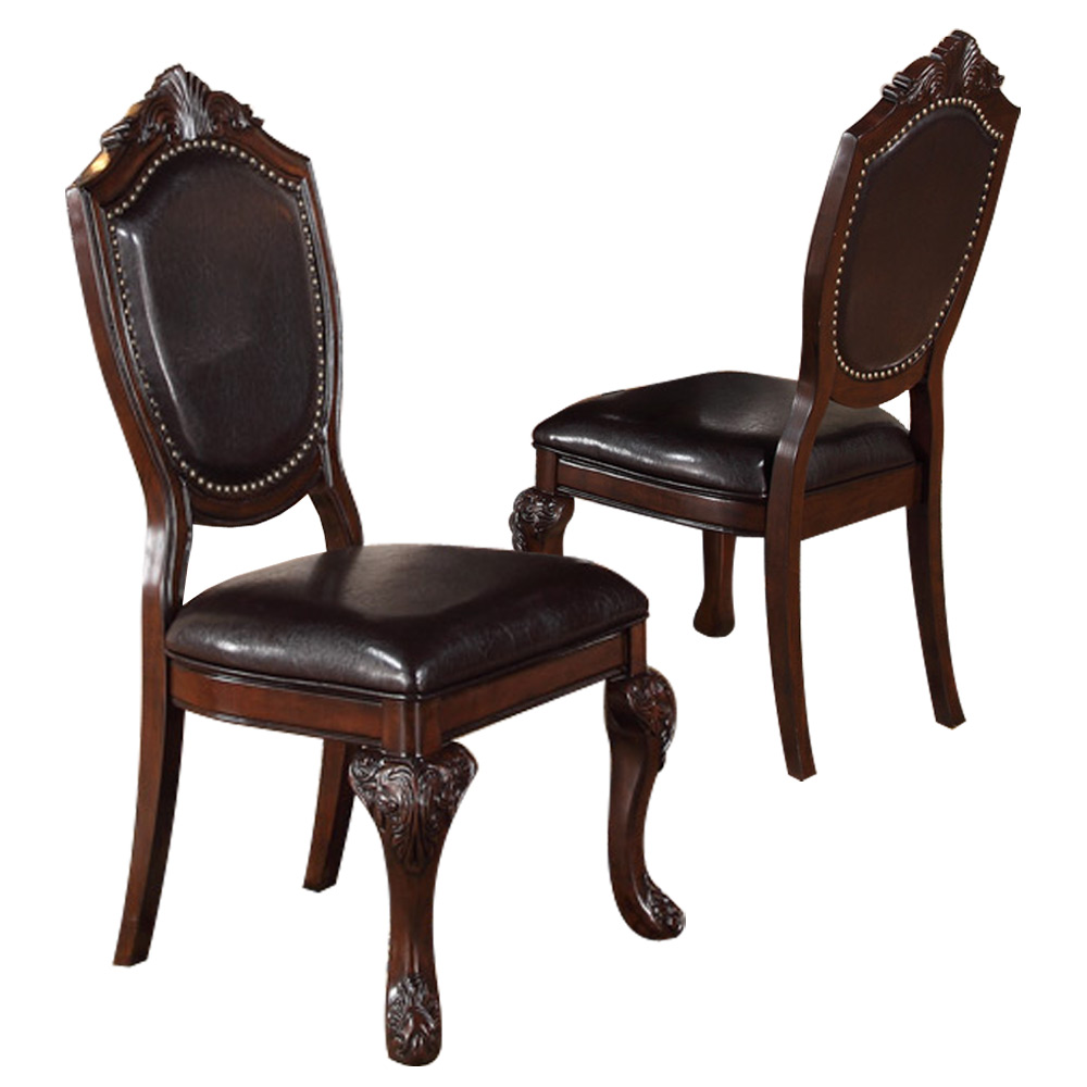 Formal Dining Room Furniture Manufacturers: 2 PC Formal Dining Side Chair Decor Foot Upholstered Faux