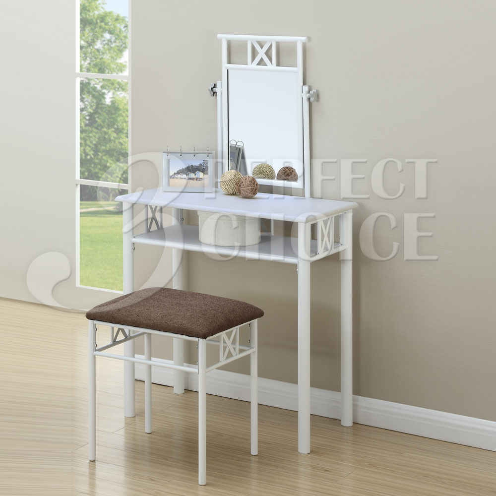 Small Vanity Makeup Set Wood Table Top Shelf Mirror Fabric Stool Metal In Whi