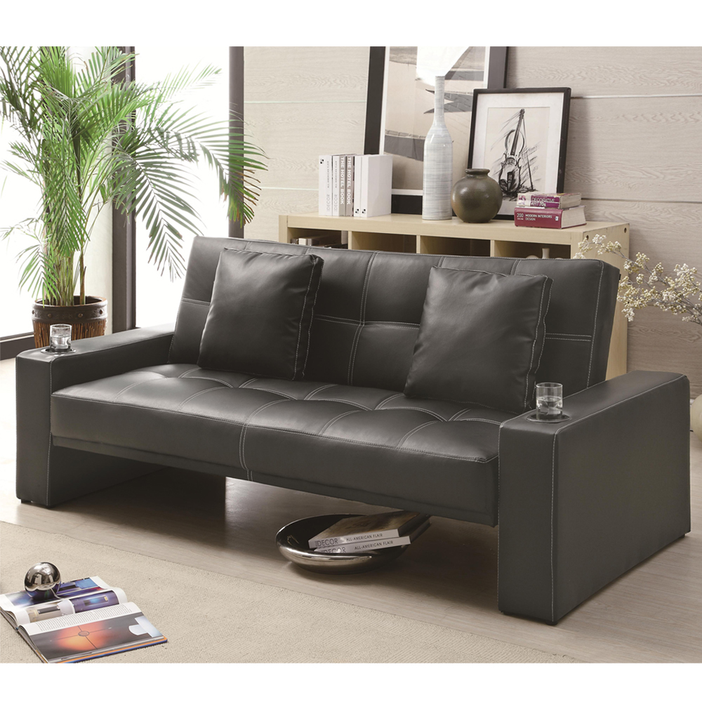 casual black leather like sofa bed futon sleeper w accent pillows cup holders ebay