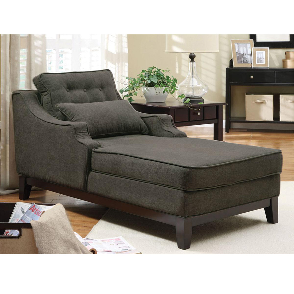 Comfortable seating upholstered chaise grey fabric solid for Accent chaise lounge