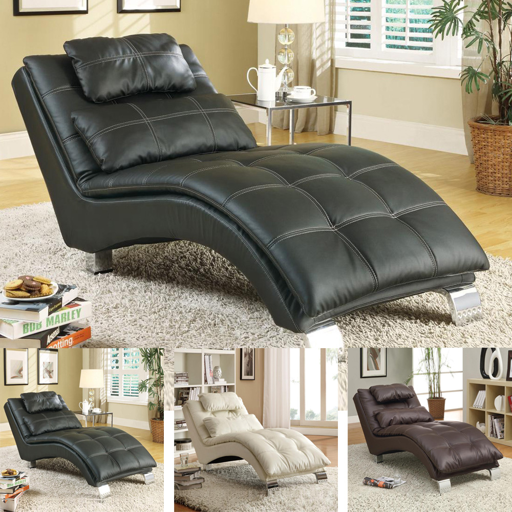 Casual Living Room Comfortable Chaise Lounge Chair Leather Like Vinyl W Pillows