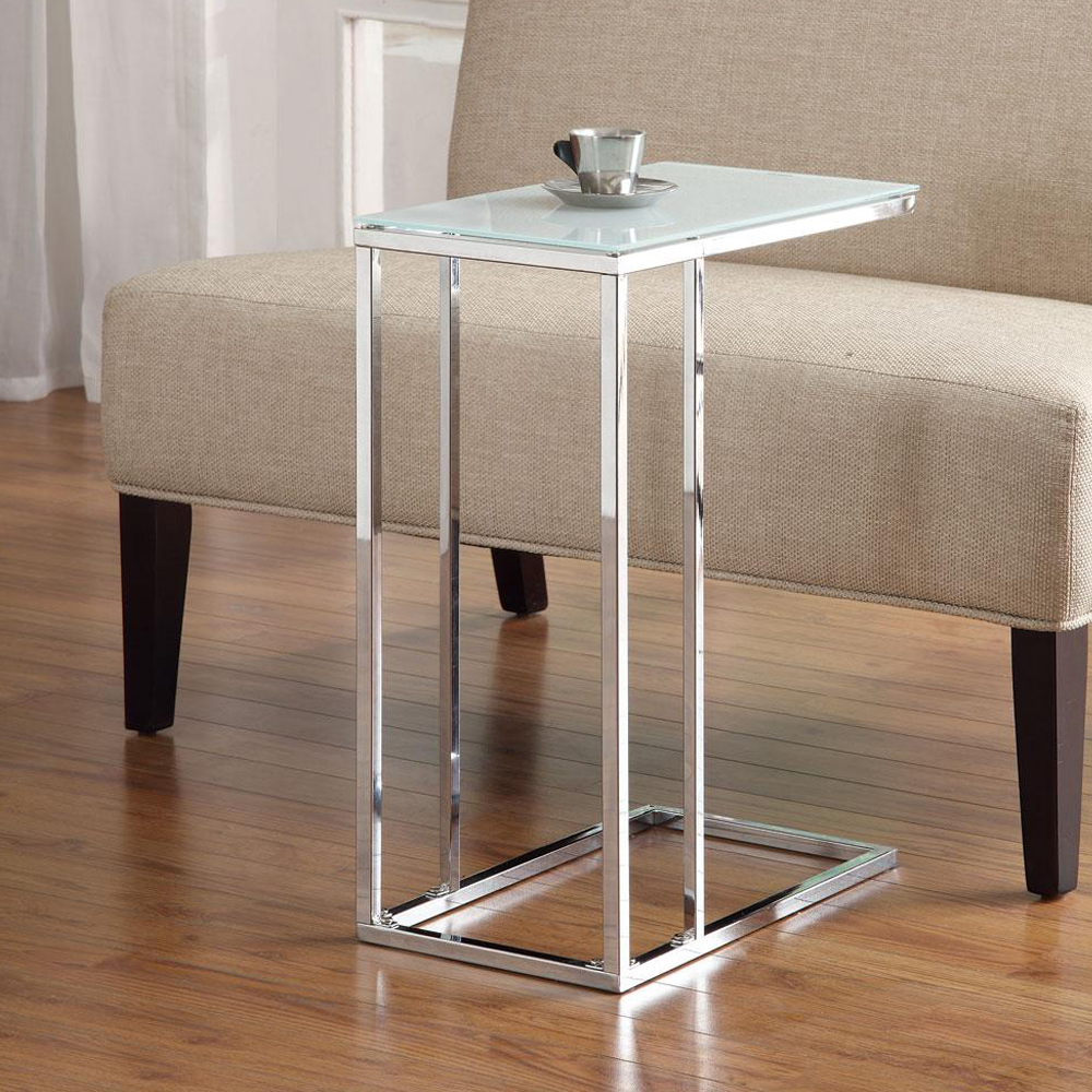 Accent living room chrome base snack side stand table sofa for Sofa side table