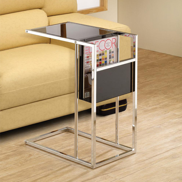 accent living room snack sofa side stand table black chrome base
