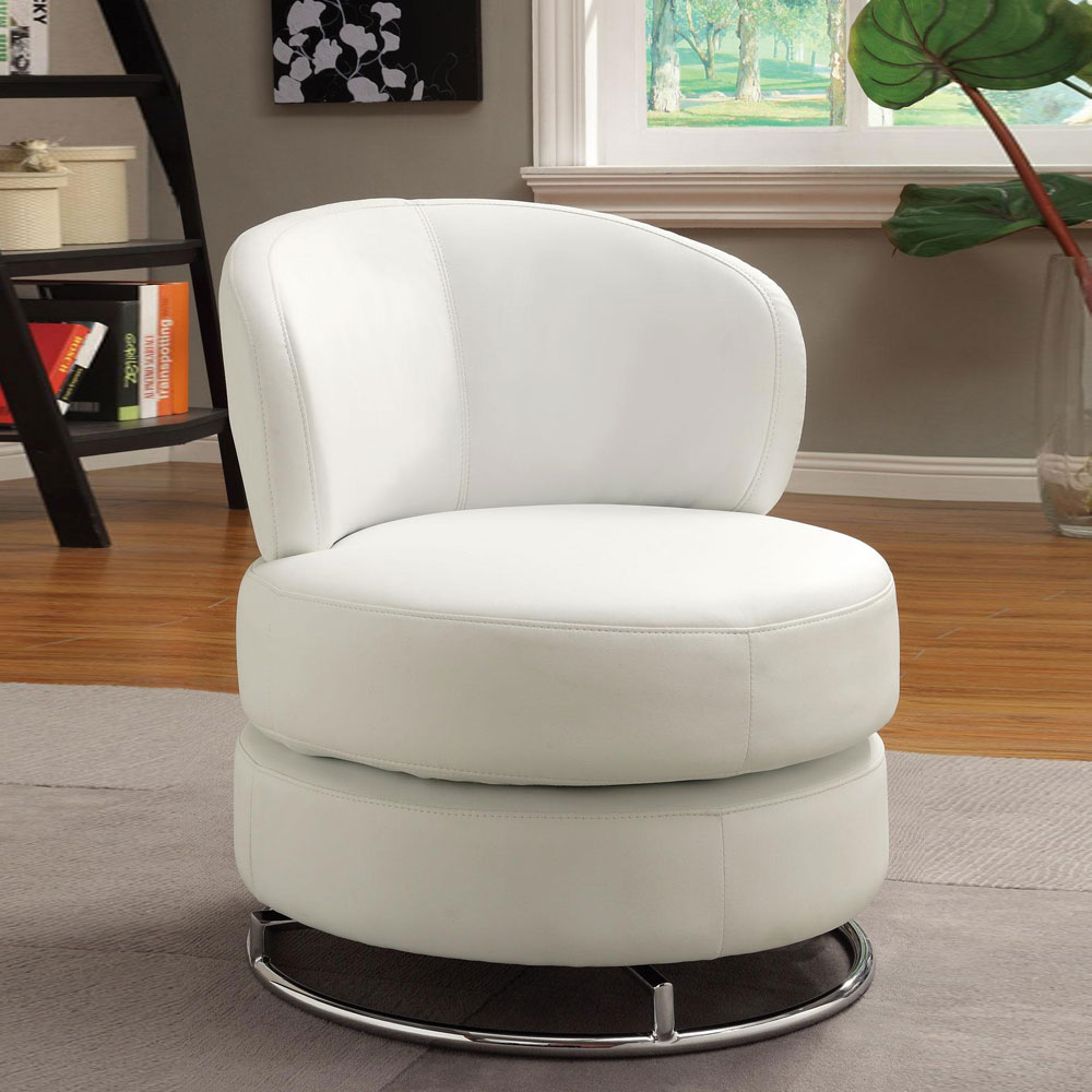 White Fabric Thick Padded Comfort Accent Swivel Chair Sofa W Round Chrome Base Ebay