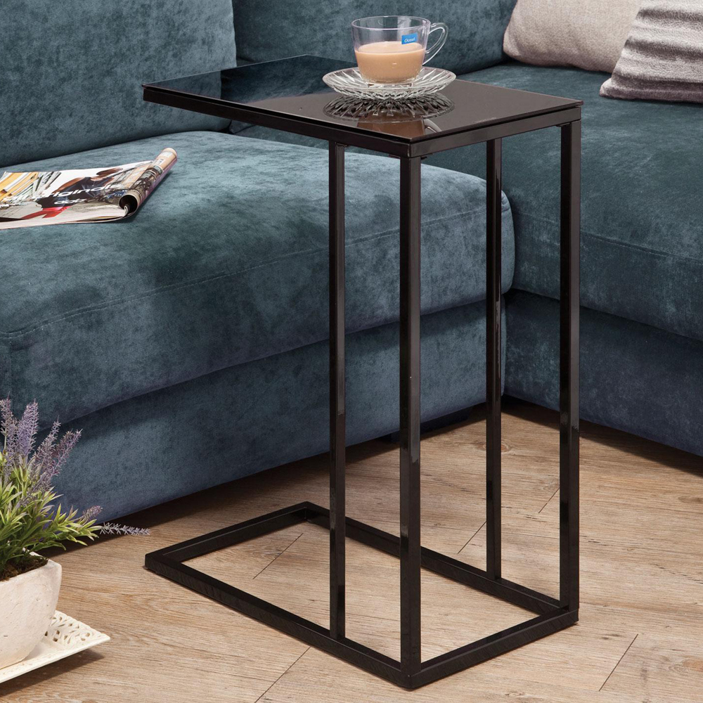 Accent Living Room Snack Sofa Side End Stand Table Glass Top Simple Line Bl