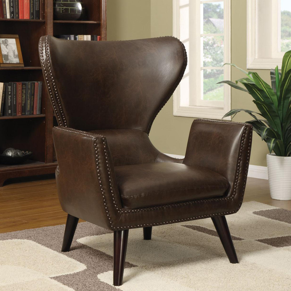 Unique Chair: Accent Unique Transitional Chair High Back Leather Seat