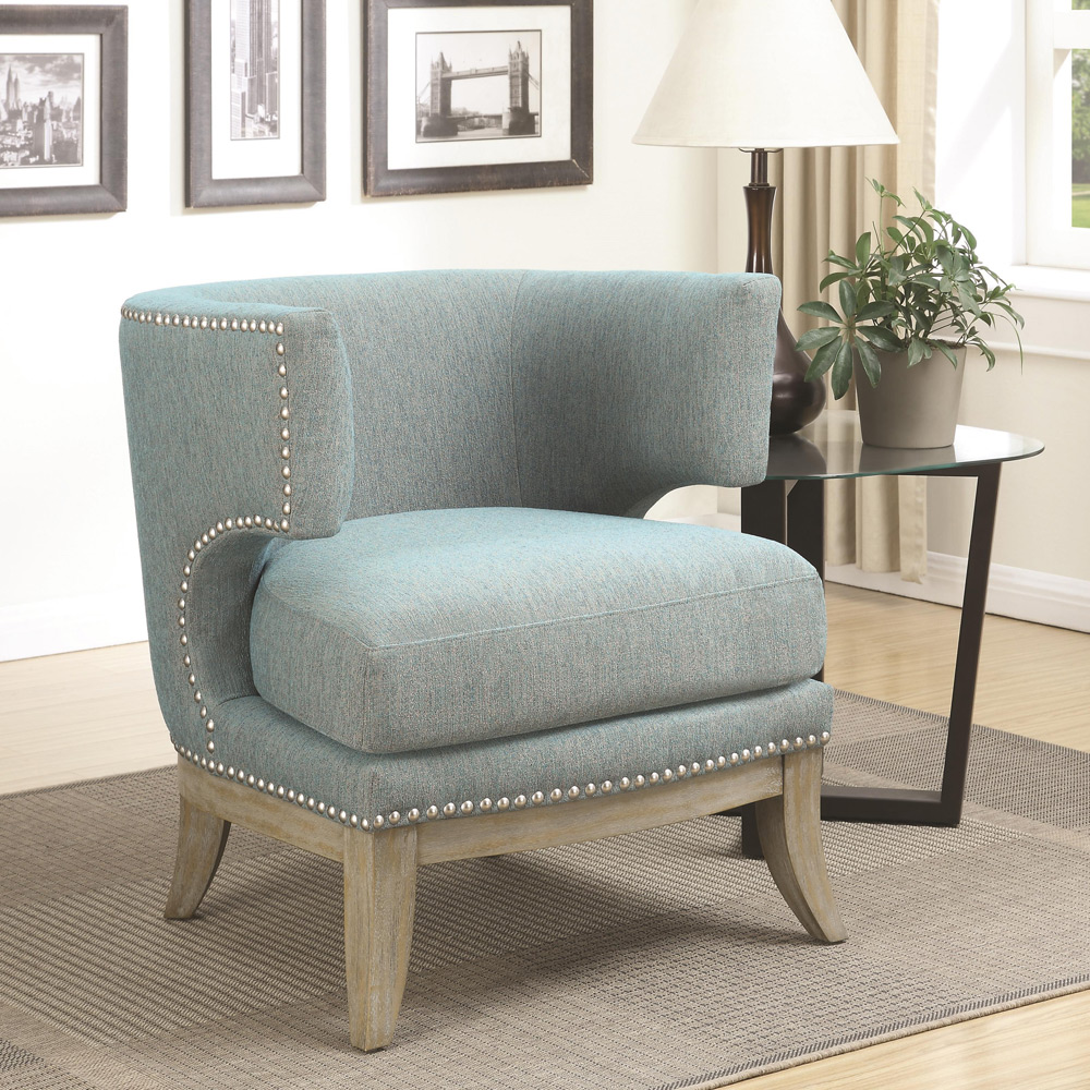 Cool Dining Room Chairs: Unique Accent Chair Barrel High Curved Back Nailhead