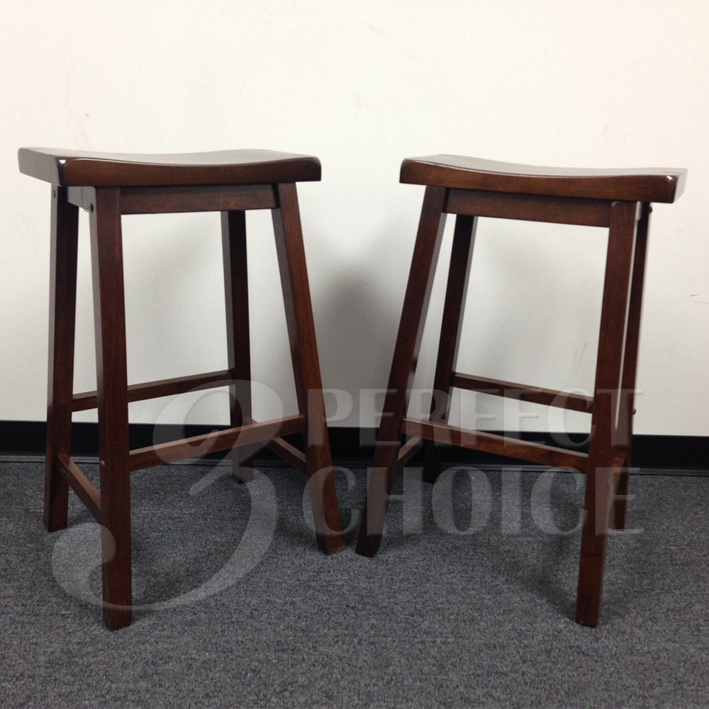 "Set Of 2 Kitchen Dining 29""H Bar Saddle Stools Barstool"