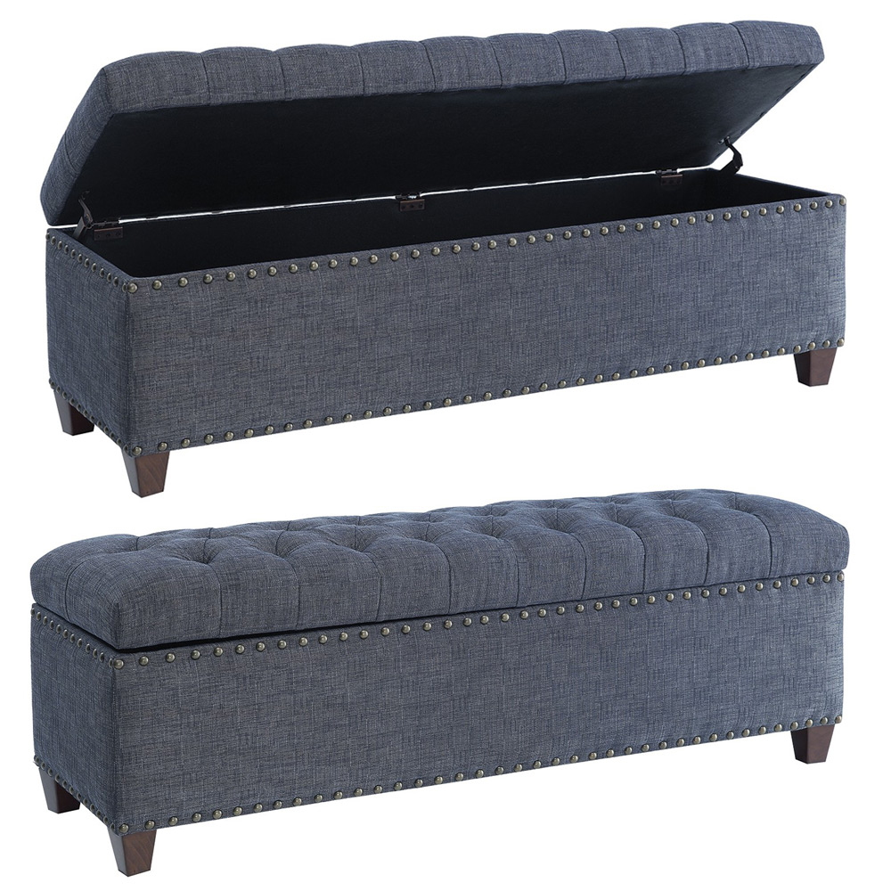 Fabric Storage Bench Microfiber Button Tufted Bedroom Seat: Accent Storage Bedroom Bench Upholstery Tufted Seating