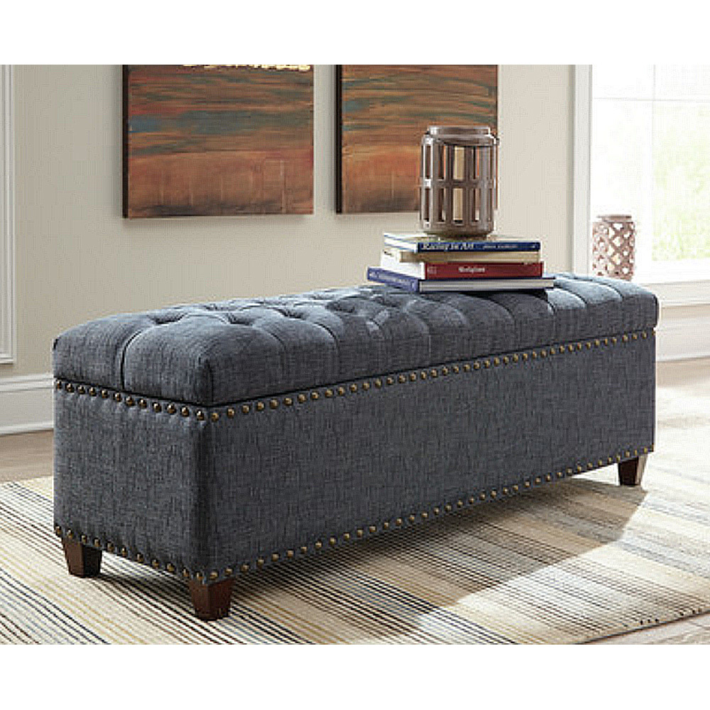 Accent storage bedroom bench upholstery tufted seating nailhead trim grey fabric ebay Gray storage bench