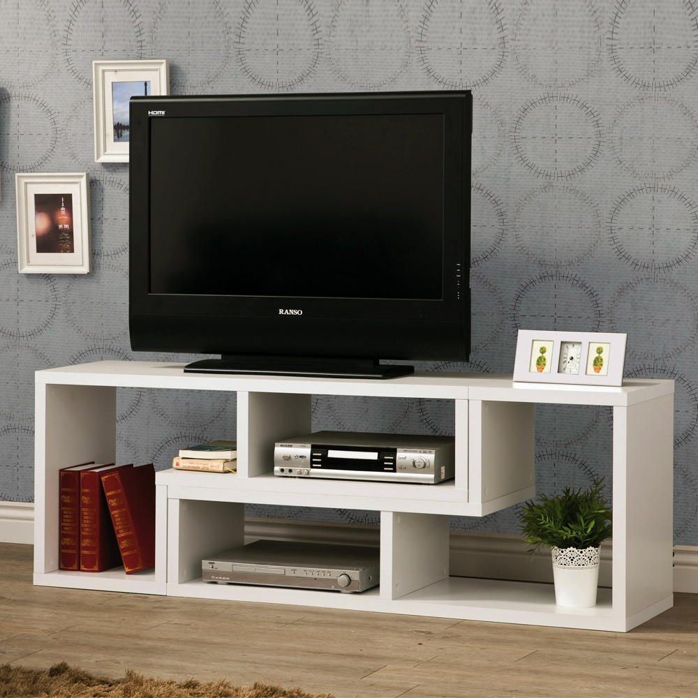 contemporary tv console stand bookcase display rack combination shelf wood white ebay. Black Bedroom Furniture Sets. Home Design Ideas