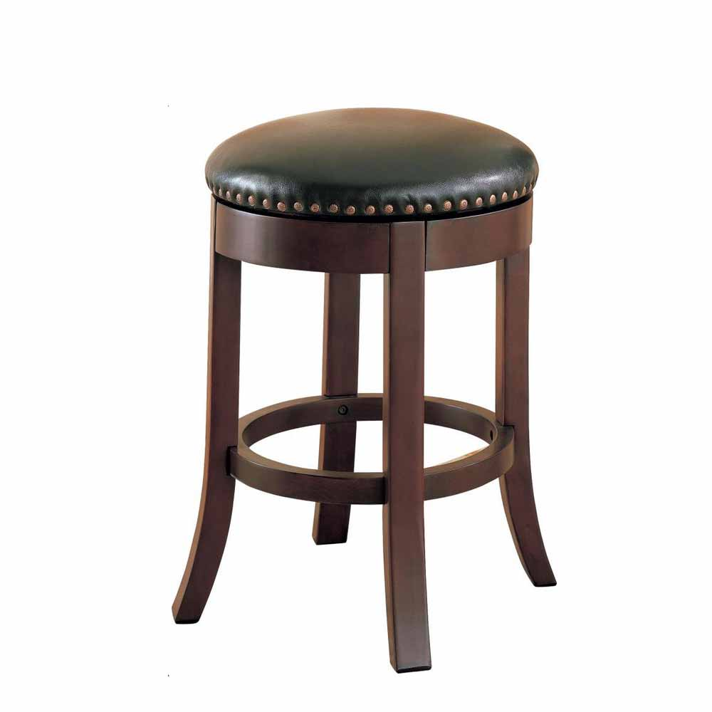 2pc Casual Round Wood Walnut 24 Quot Swivel Bar Stool Nailhead