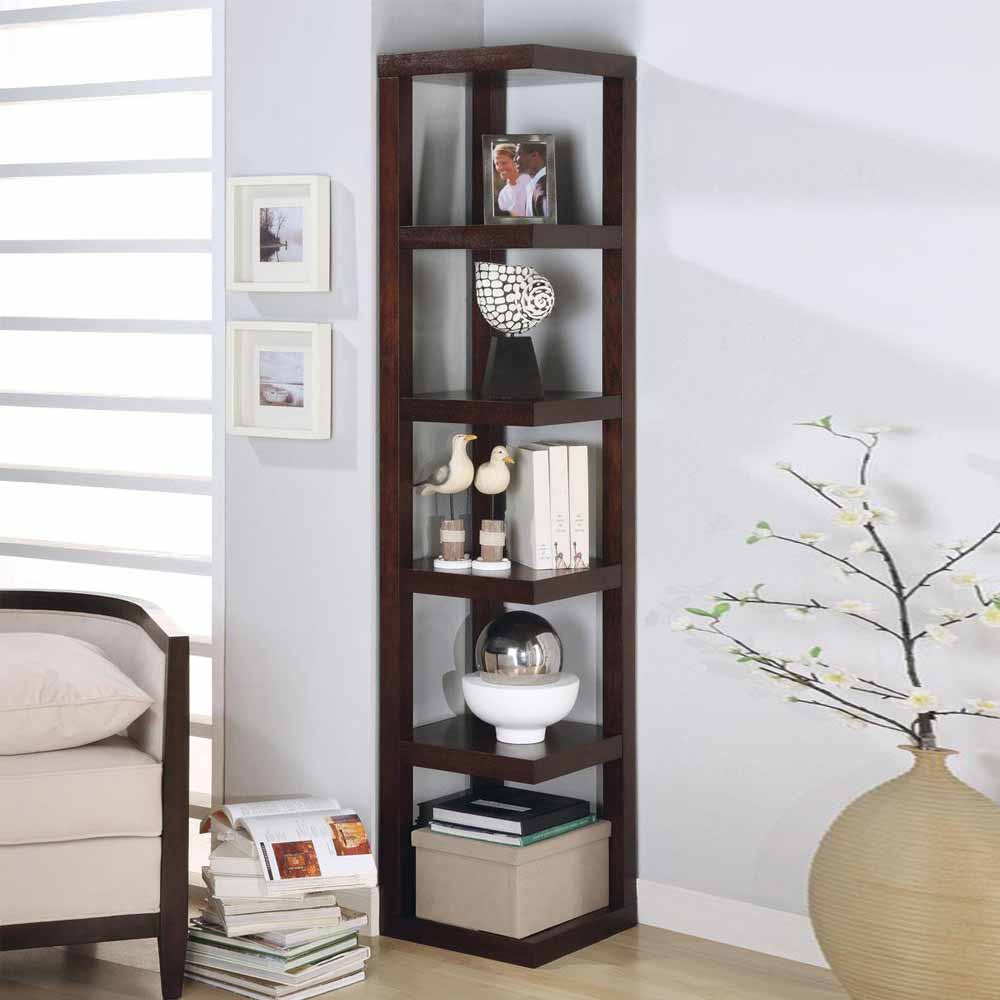 Contemporary corner display 5 shelves rack bookshelf Modern corner bookshelf