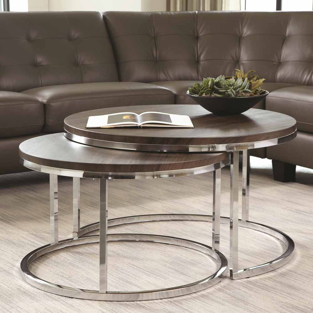 Contemporary functional round cocktail coffee side end for Modern nesting coffee tables