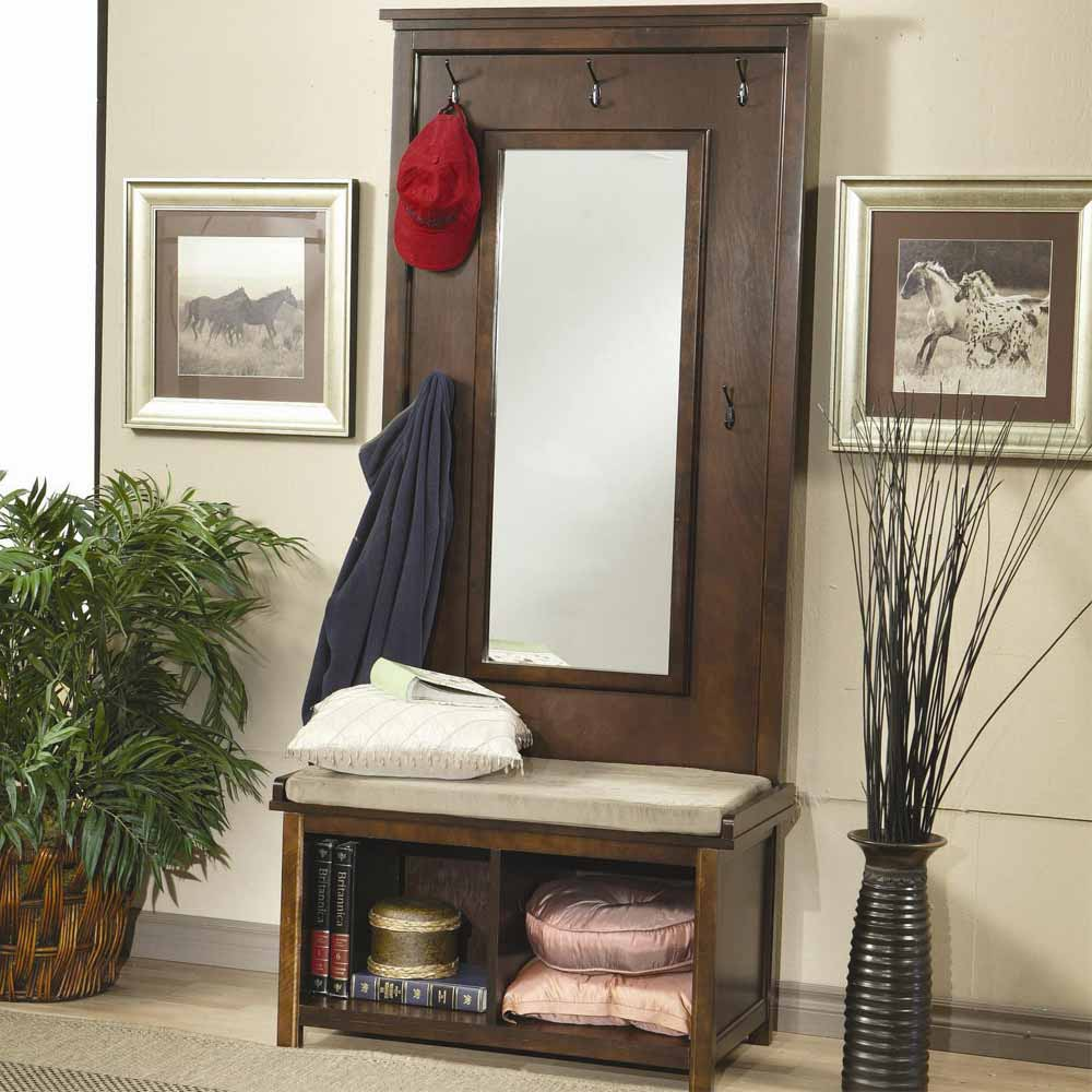 Hallway entryway hall tree bench coat rack storage shoe for Hallway mirror and shelf