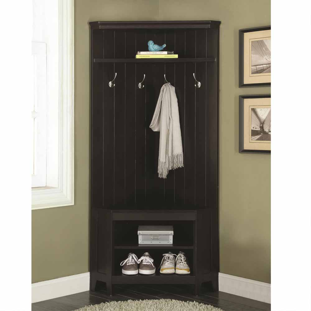 corner hall tree coat rack shoe storage cabinet bench shelves wooden white black ebay. Black Bedroom Furniture Sets. Home Design Ideas
