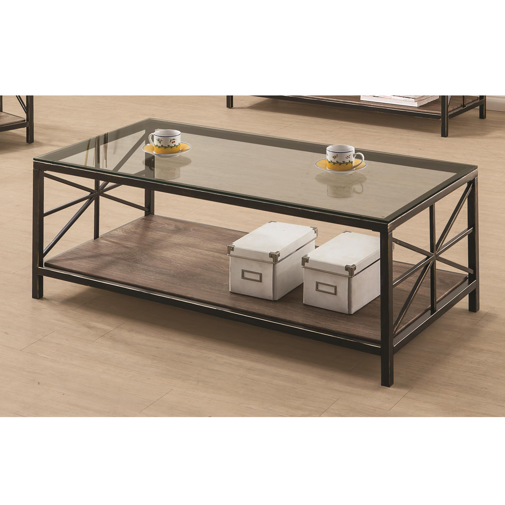 Avondale Living Room Coffee Table Glass Top Wood Shelf