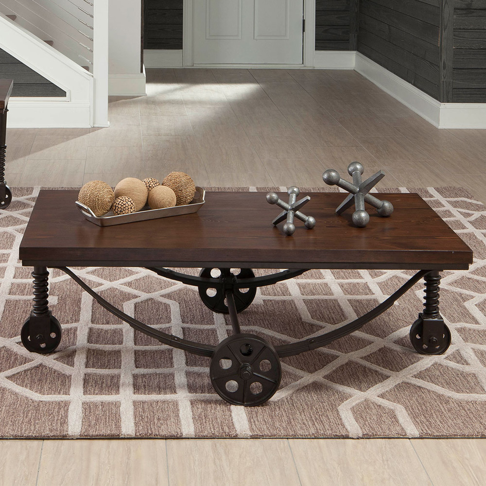 Industrial Metal Coffee Table With Wheels: Industrial Style Rustic Occasional Coffee Table Antique