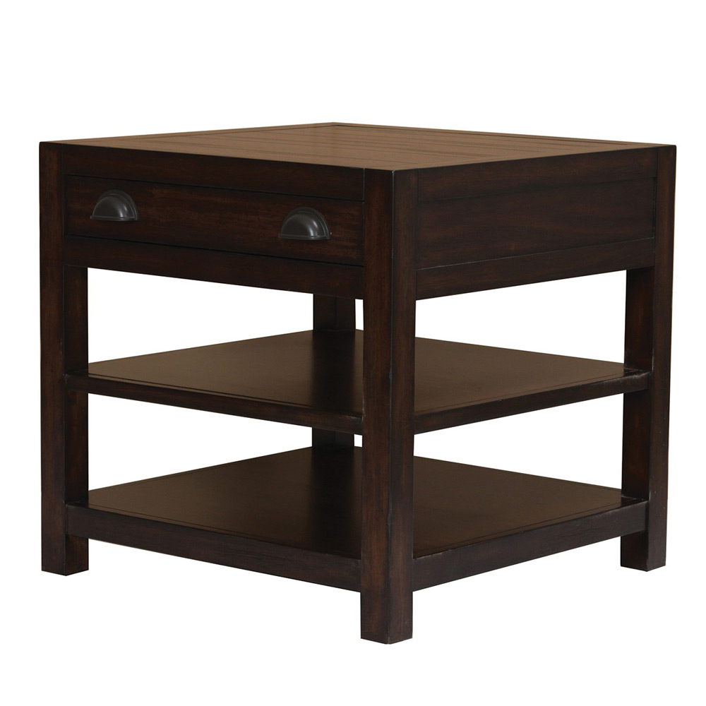Occasional Solid Wood Living Room End Side Table Storage
