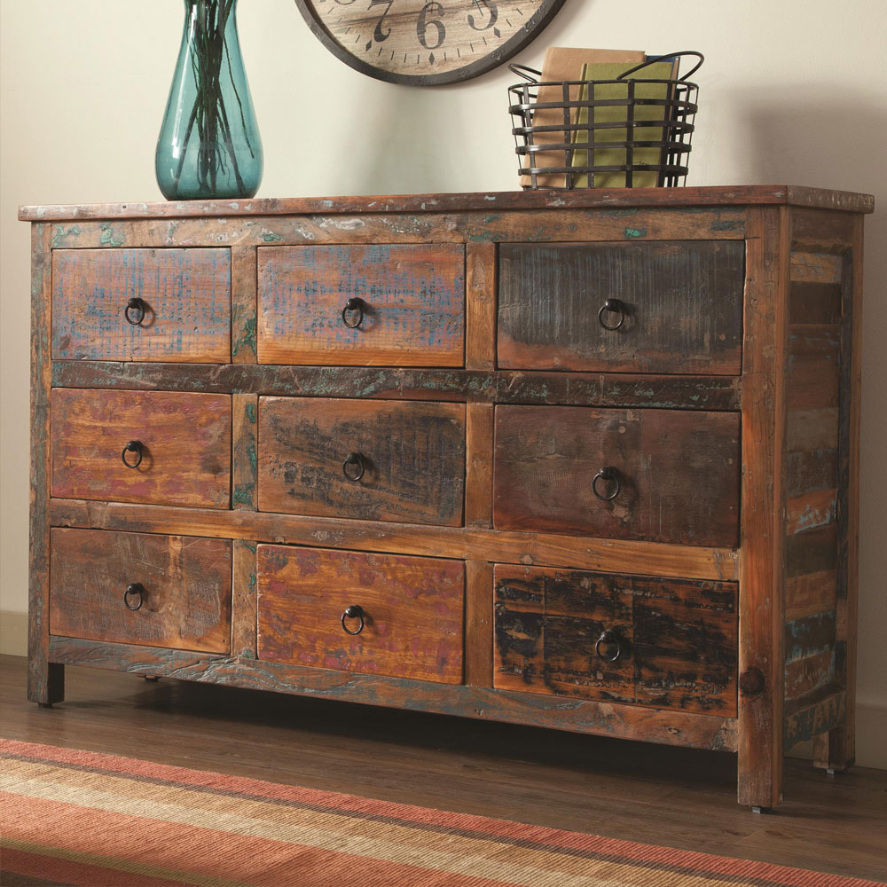India Antique Accent Cabinet Console Table Rustic Reclaimed Wood Mix Teak Drawer Ebay
