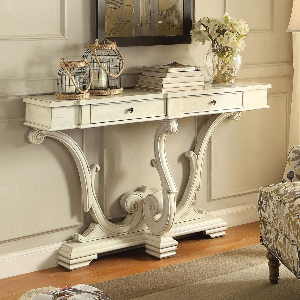 entryway sofa console table curved legs 2 drawers antique white ebay