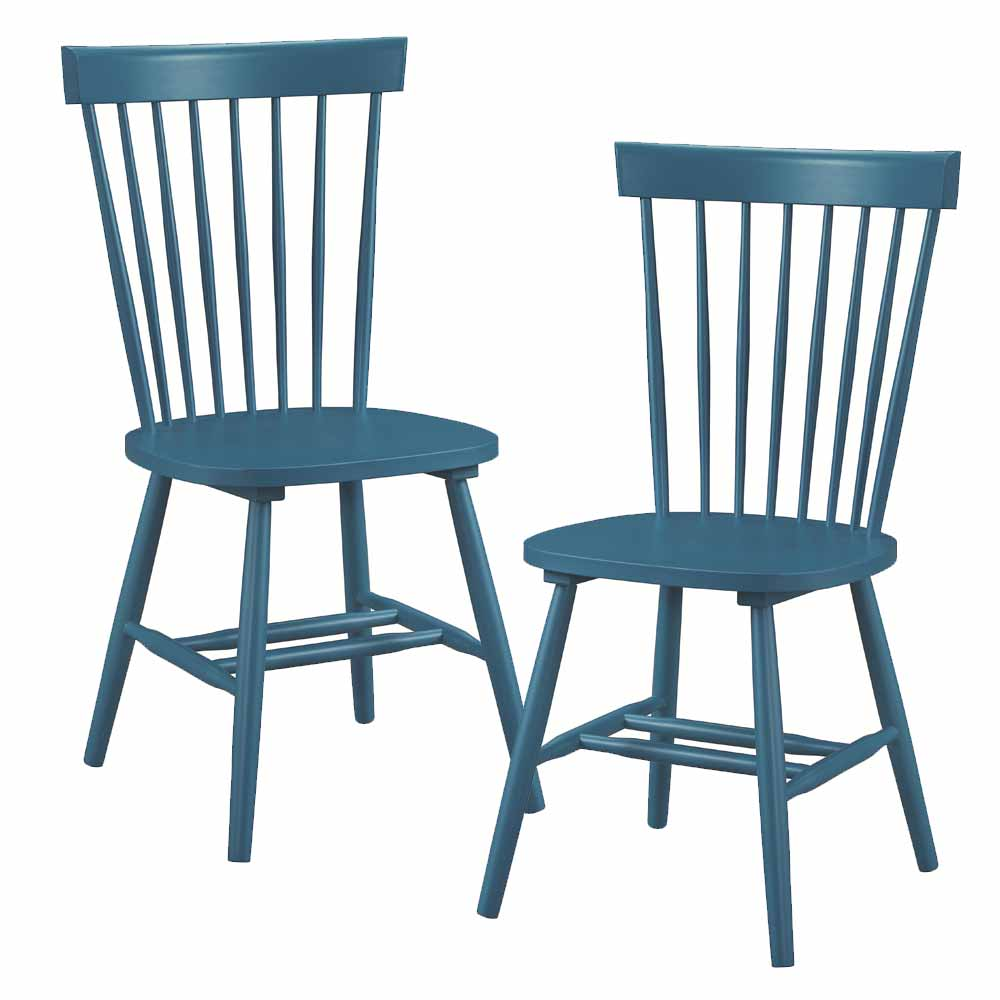 Set Of 2 Emmett Casual Dining Side Chair Spindle Back Block Legs Wood Teal Bl