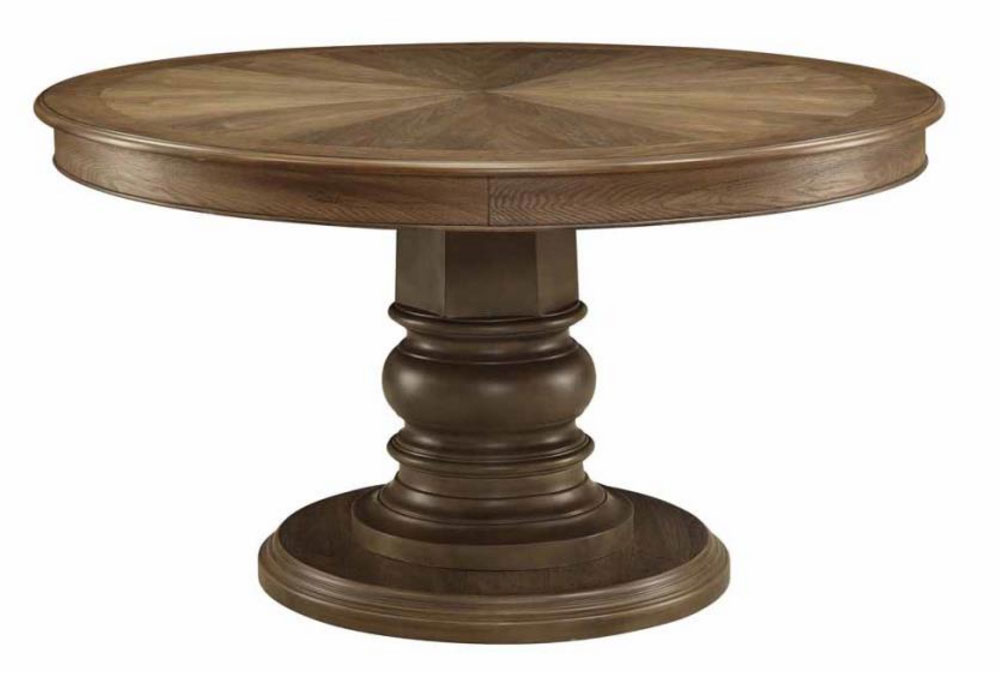 """Solid Wood Round Table Set: Willem Collection 54"""" Round Single Pedestal Table Antique"""