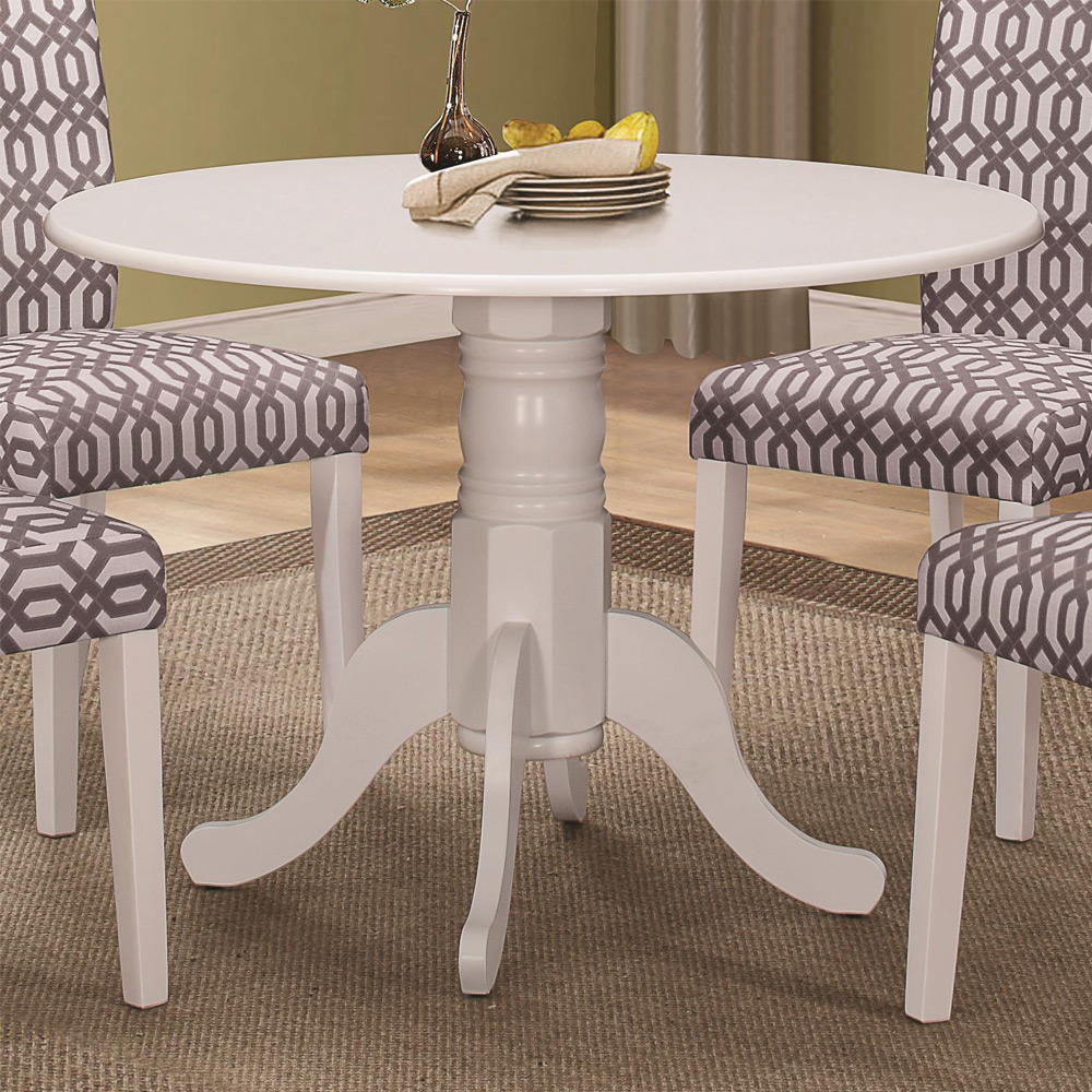 Allston cottage style round dining table single pedestal for Single leg dining table