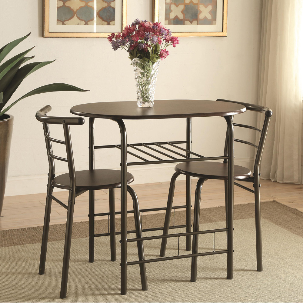 dinettes 3pcs small space dining room set brown oval table