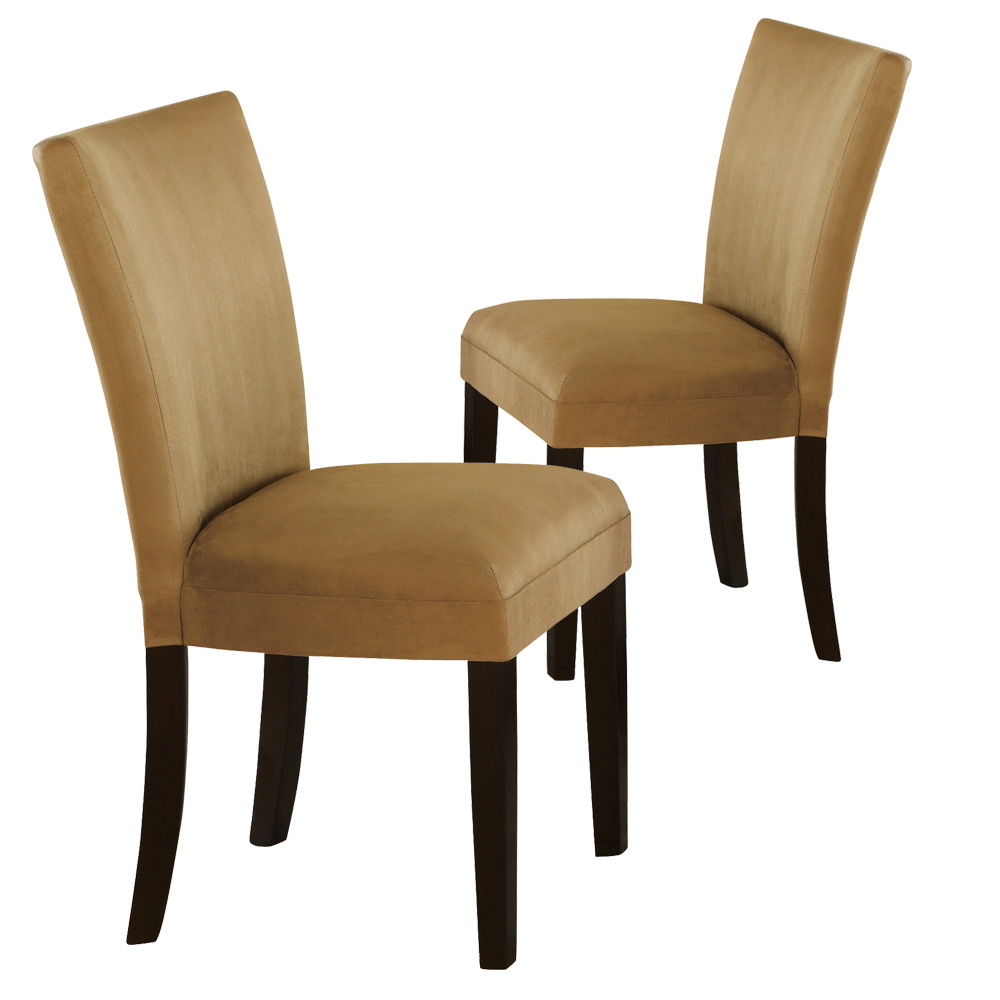Set of 2 Parsons Dining Side Chairs Gold Padded Fabric  : CO 101492 from www.ebay.com size 1000 x 1000 jpeg 92kB