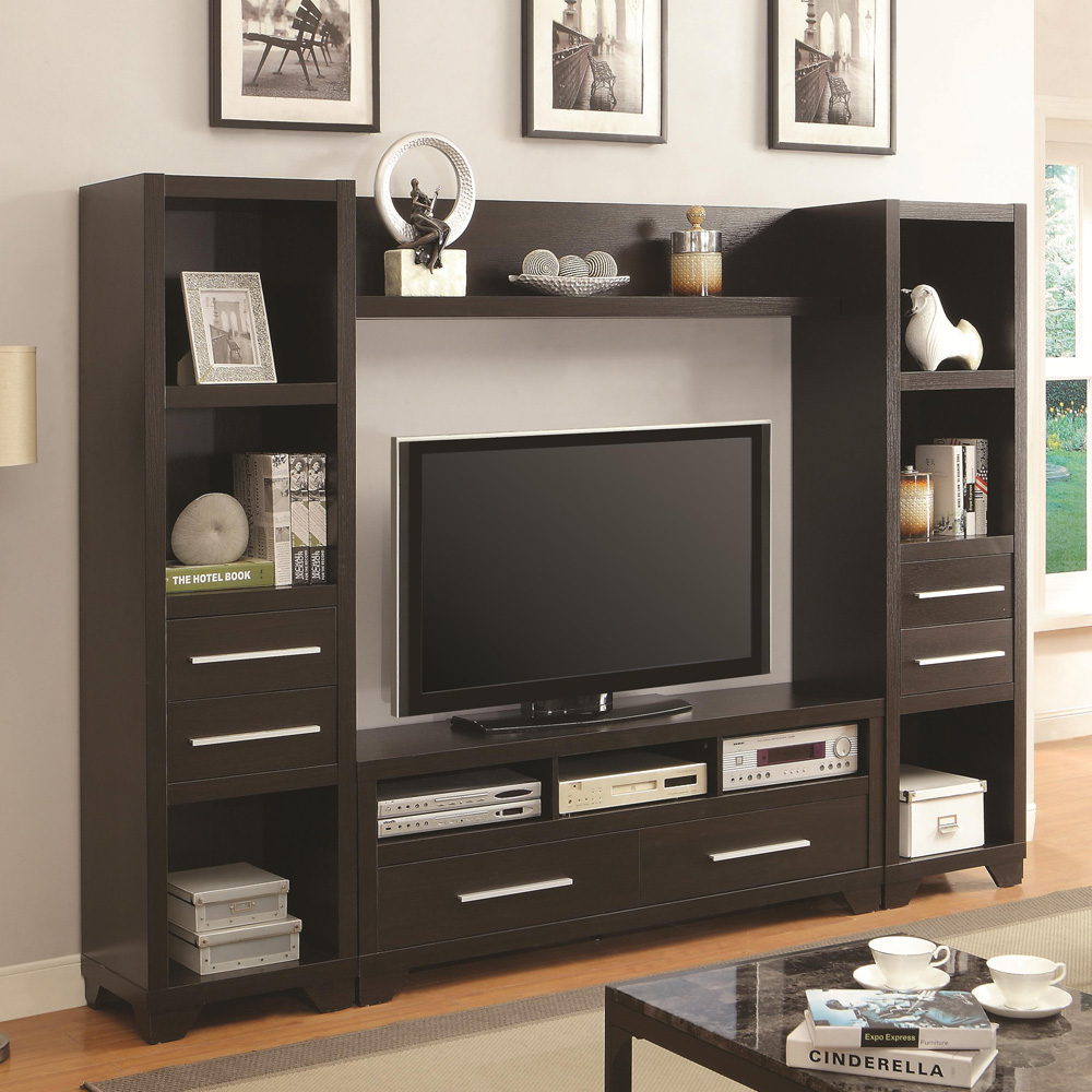 Entertainment Wall TV Stand Media Tower Chest Storage