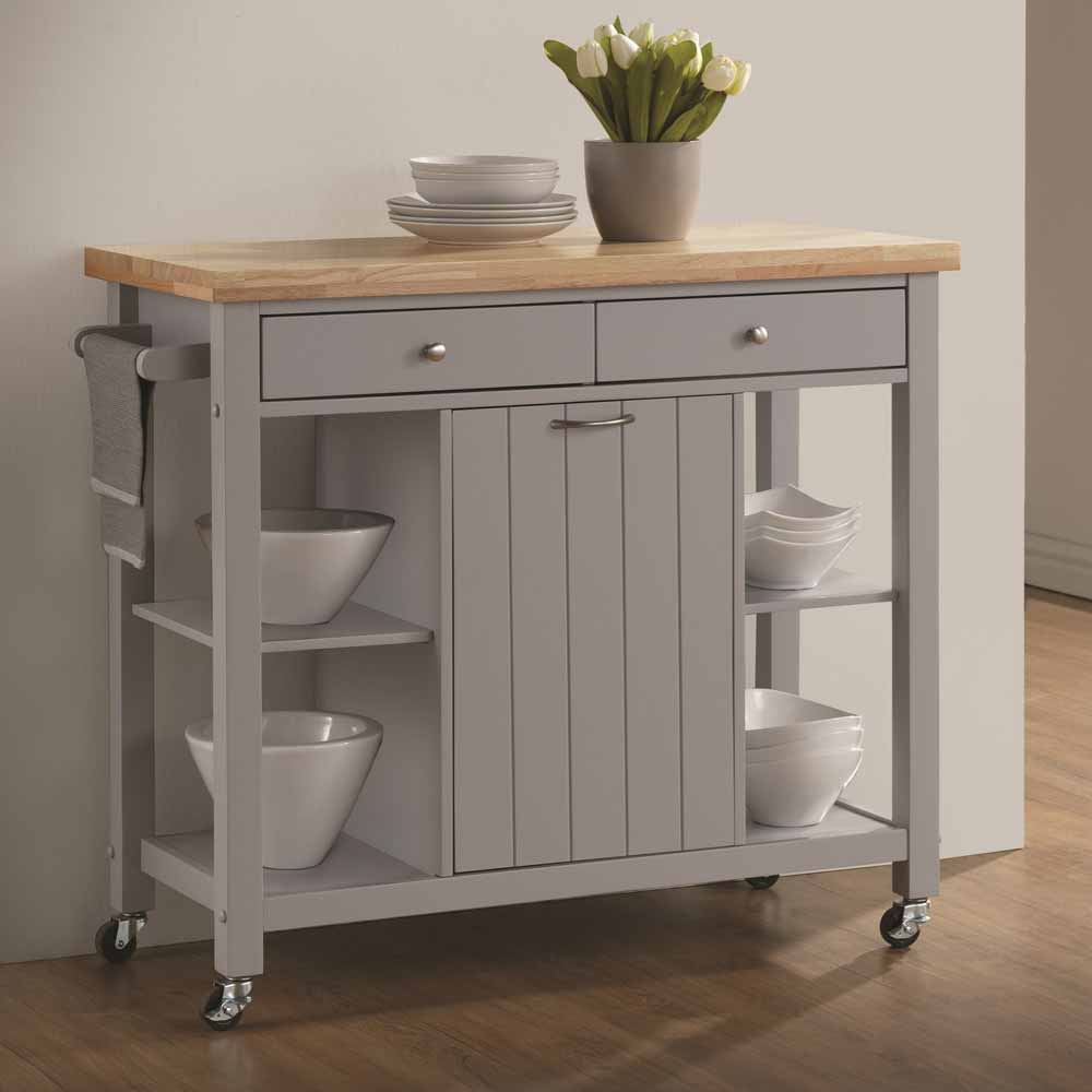 Kitchen Island Cart Wheels Storage Cabinet Shelf Drawers Natural Top Light Gray Ebay