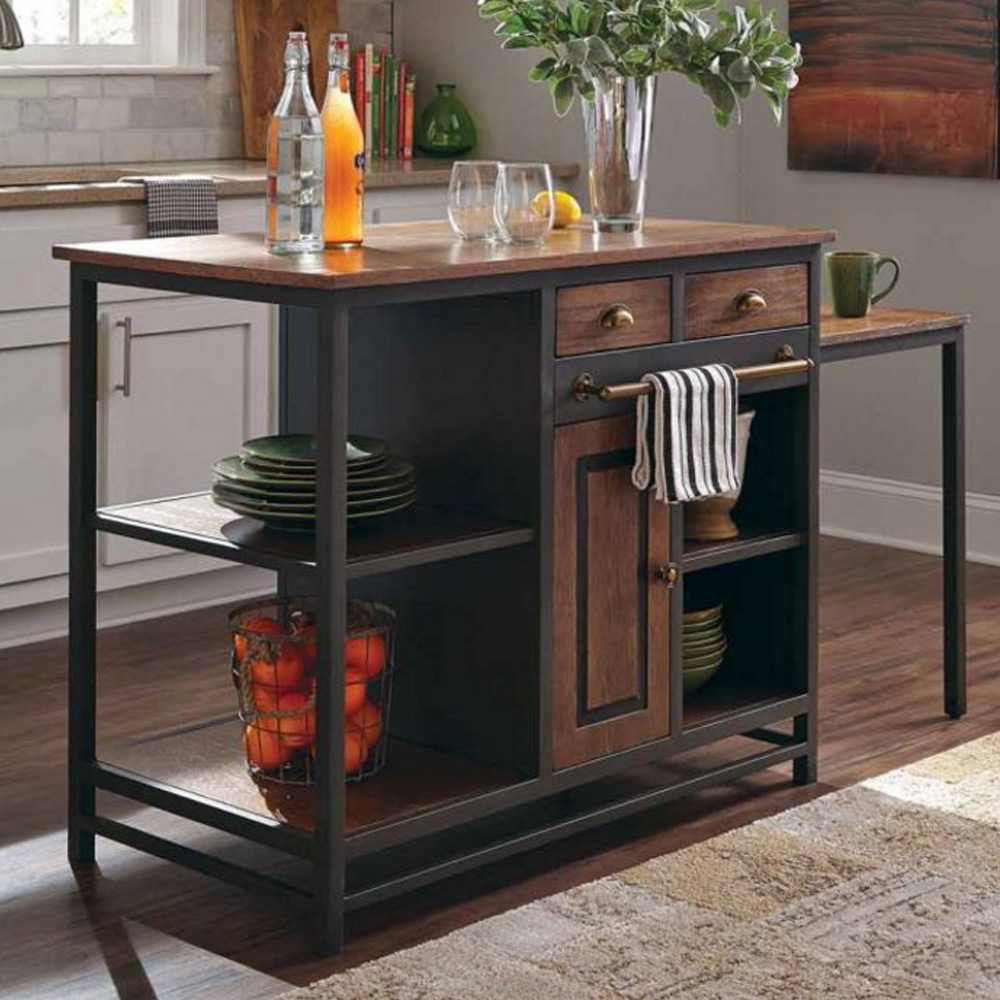 Industrial kitchen island server kitchenware rustic wood black metal pull desk ebay - Industrial kitchen island for sale ...