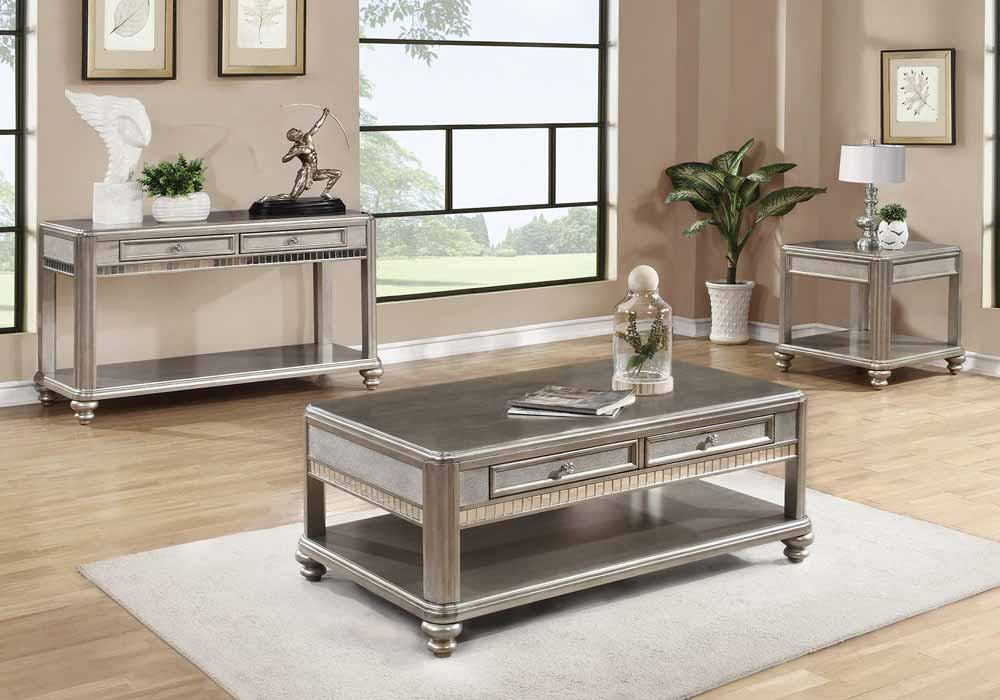 Living Room Coffee End Side Sofa Console Table Mirrored Glass Metallic Platin