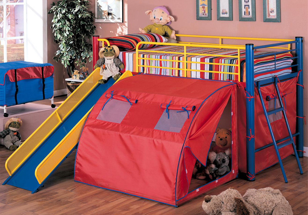 Oates Fun Youth Boy Kid Bedroom Loft Bed Tent Slide Ladder