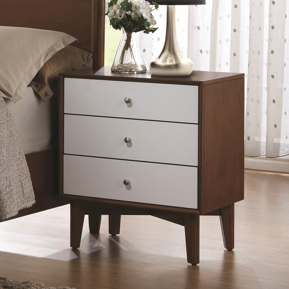 Modern mid century bedroom nightstand night stand 3 for White wood nightstand