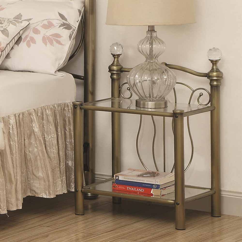 Traditional bedroom nightstand night stand w glass 2 for Metal night stands bedroom