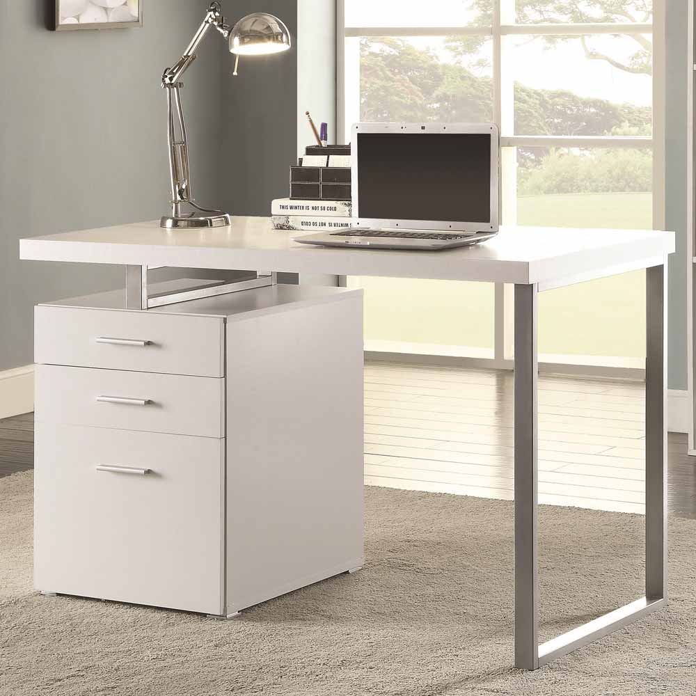 contemporary home office computer writing desk file cabinet reversible in white. Black Bedroom Furniture Sets. Home Design Ideas