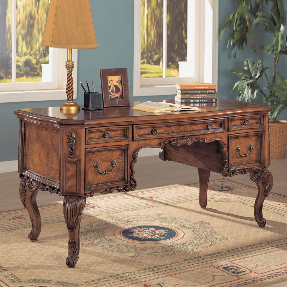 Elegant Traditional Antique Solid Carved Wood Office Desk