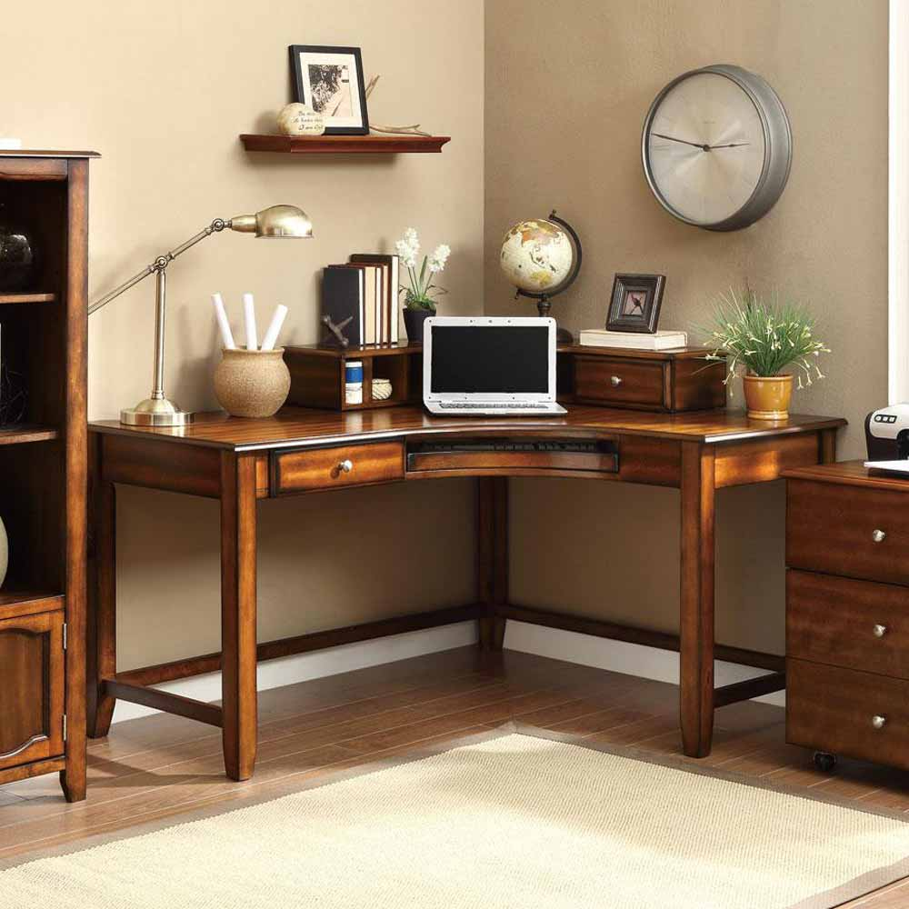 Corner Curved Office Computer Study Desk with Hutch & Drawers Walnut