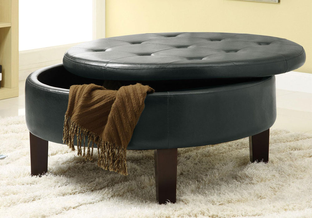 Contemporary Round Upholstered Storage Ottoman Tufted Top