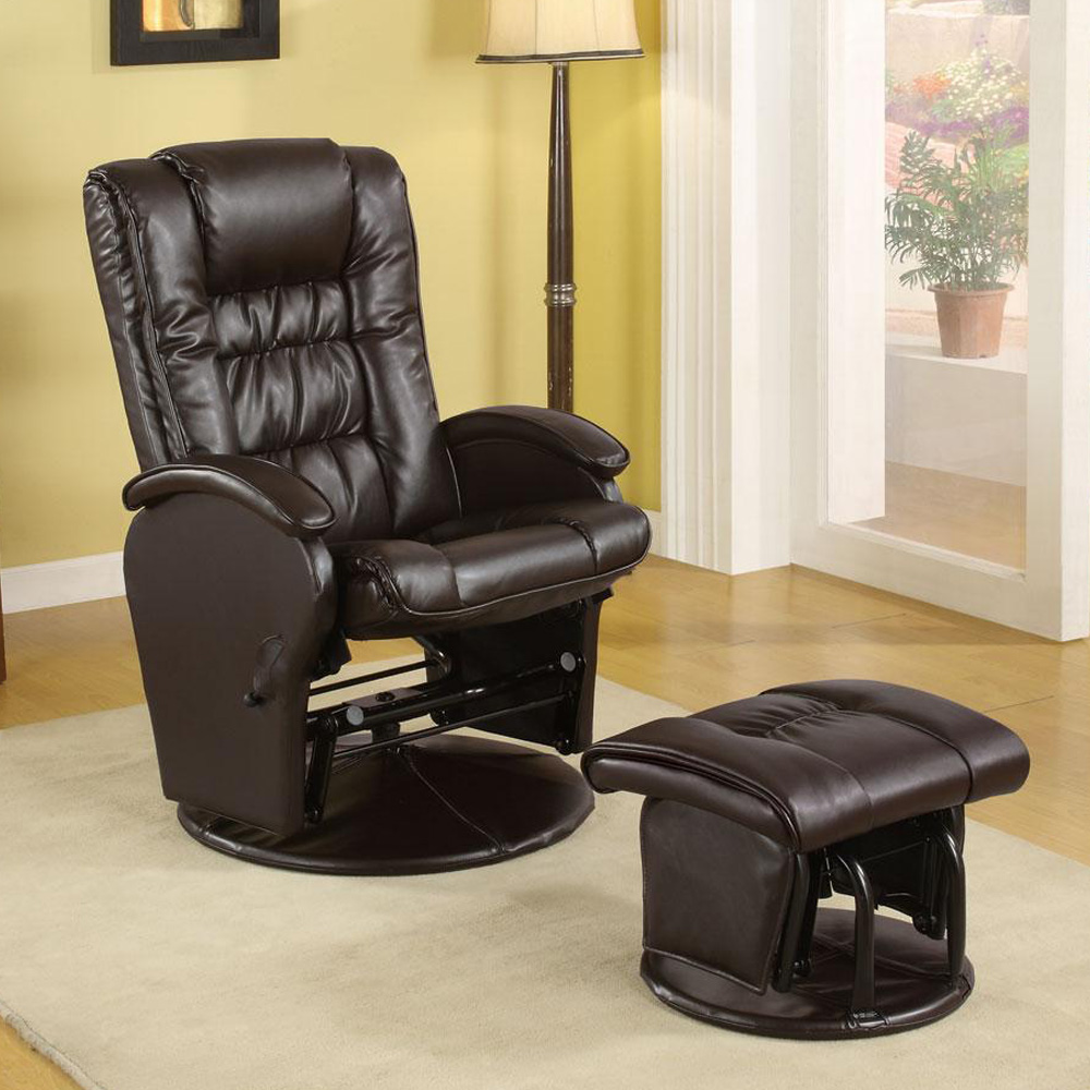 Casual baby nursing glider rocker recliner lounger brown pu leather w ottoman ebay - Rocking chair but ...