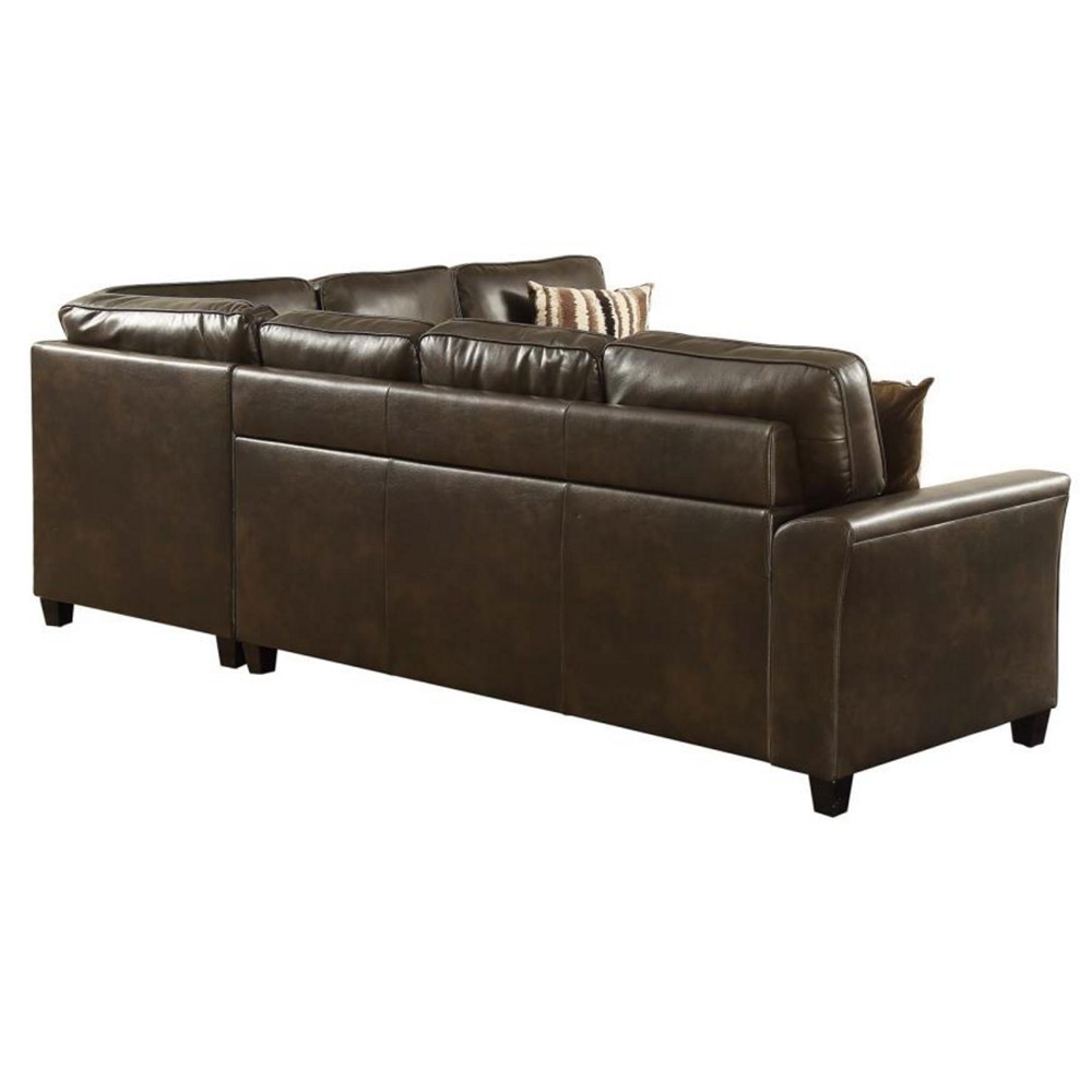 Living Room Sectional Couch Pull Out Sofa Bed Sleeper Dark Brown Breathable Pu Ebay