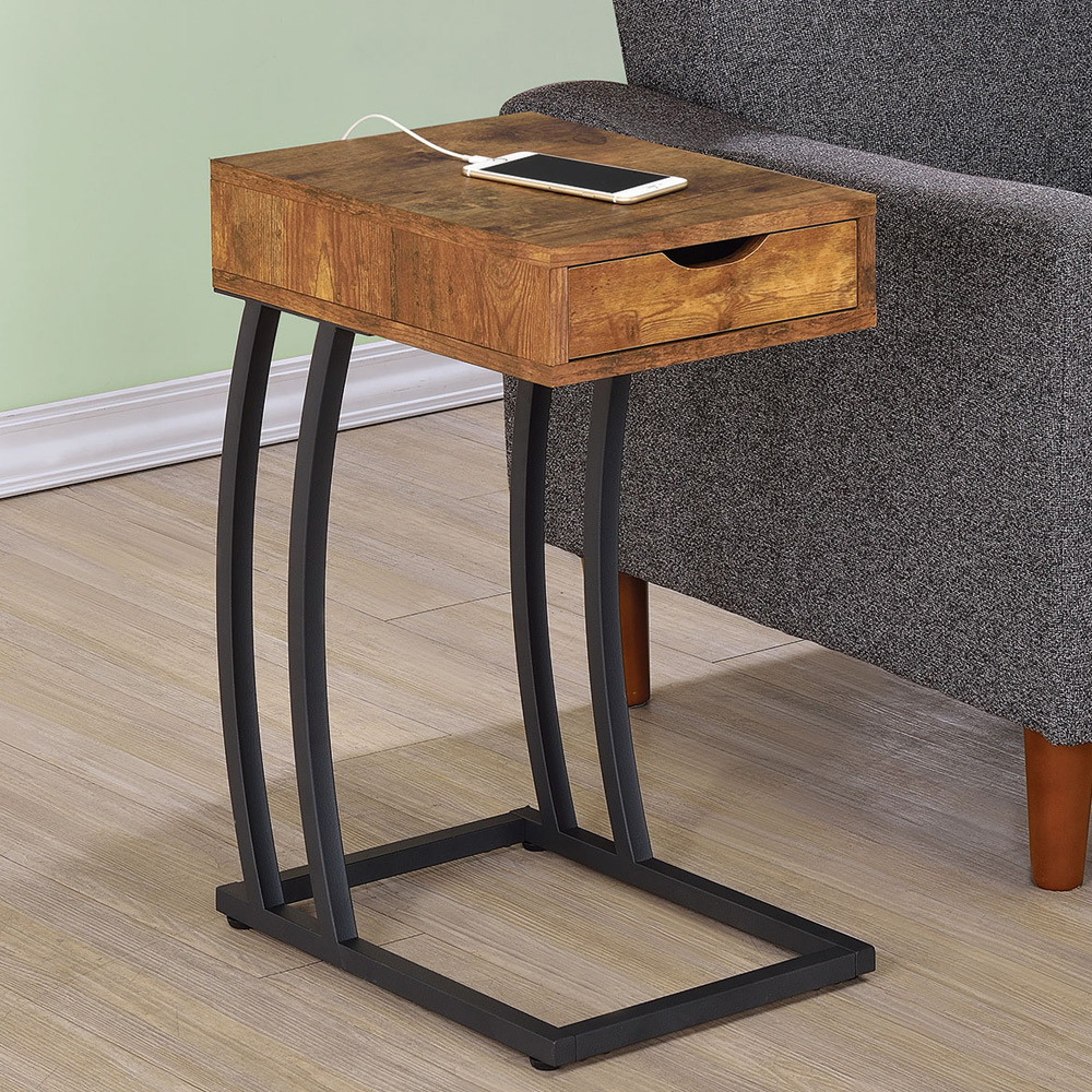 accent snack side chairside table stand drawer outlet charge wood antique nutmeg ebay. Black Bedroom Furniture Sets. Home Design Ideas