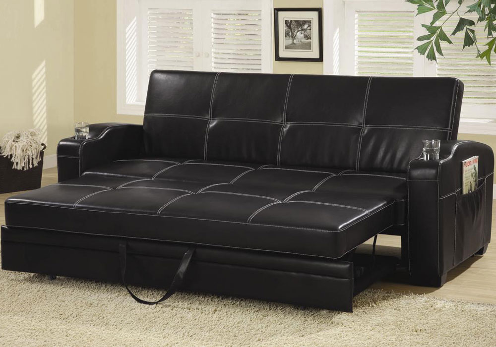 Contemporary Living Room Pull Out Sleeper Sofa Bed Futon ...